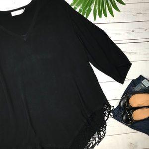 {Soft Surroundings} sz S/M black fringe poncho